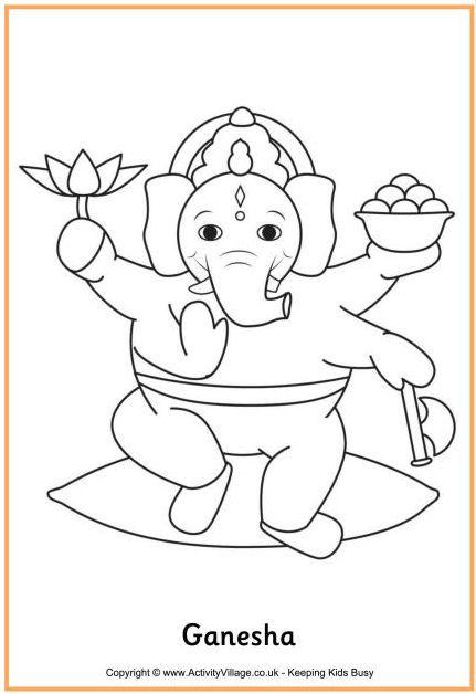 Ganesha colouring page, Lord Ganesh colouring page