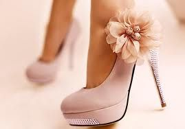 Pale Pink colored high heel shoe