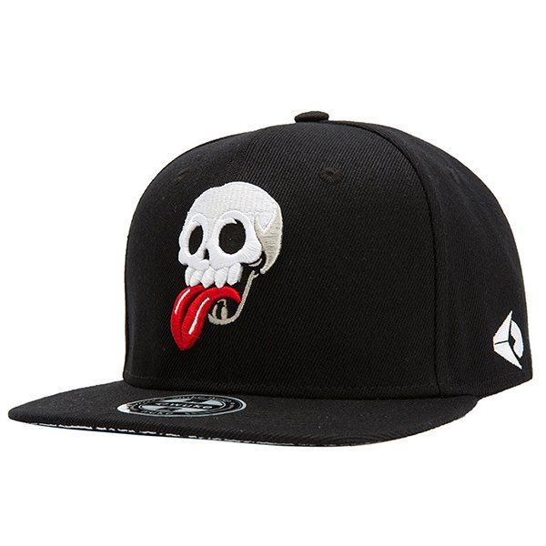 Fashion Red Tongue and Skull Embroidery Street Hip Hop Black Baseball Cap #jewelry, #women, #men, #hats, #watches, #belts, #fashion