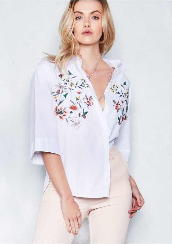 2100c161e0e Arya White Floral Embroidered T Shirt Missy Empire