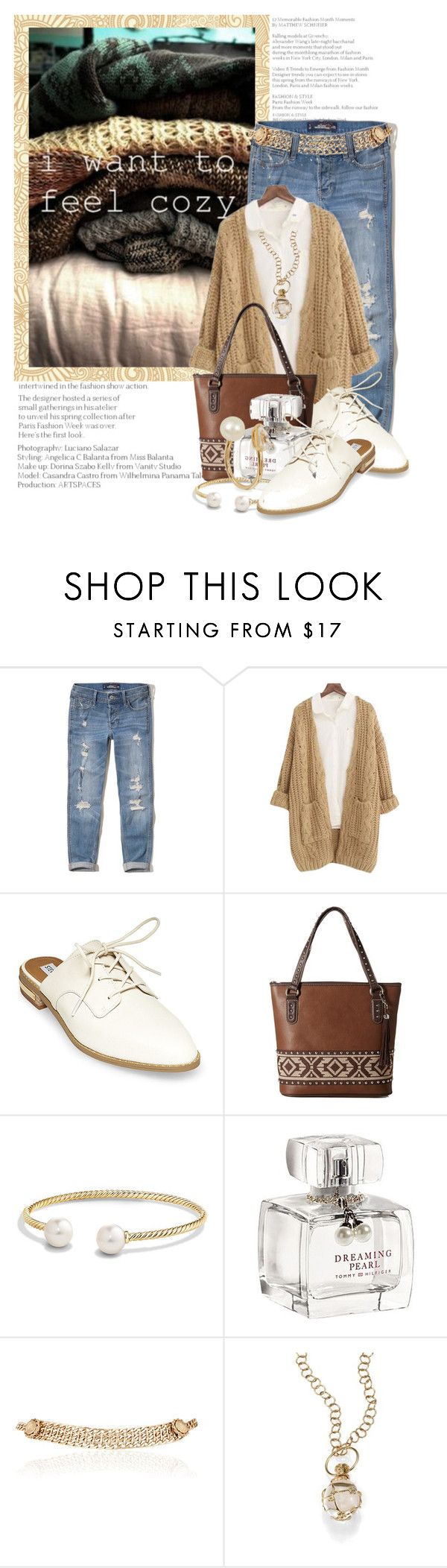 """I want to feel cozy......"" by queenrachietemplateaddict ❤ liked on Polyvore featuring Hollister Co., Chicnova Fashion, Steve Madden, M&F Western, David Yurman, Debenhams, Maison Mayle, Temple St. Clair, Anissa Kermiche and jeans"