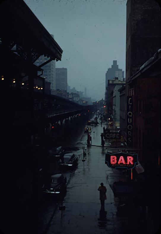 View from an elevated train platform, New York City, c 1951, by Esther Bubley