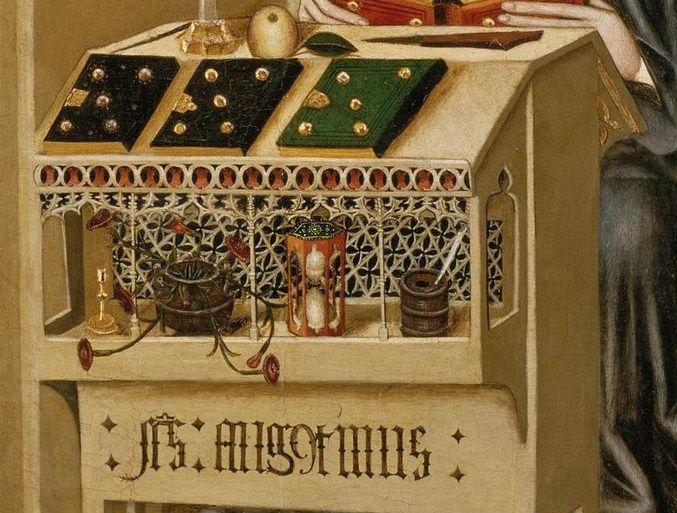 Anónimo Compartimento de retablo con san Agustín Escuela tarraconense Segunda mitad del siglo XV Pintura al temple sobre tabla, detail