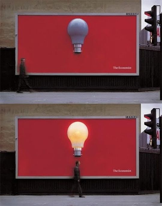 We love really good interactive street advertising. This bright idea is from The Economist has the bulb lighting as someone passes under it. Ignite Design & Advertising www.clickandcombust.com