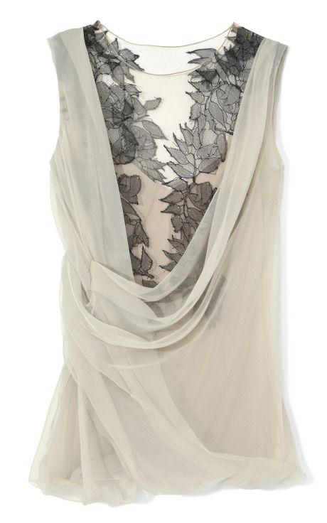 Shop Two-Tone Cowl Neck Wrap Blouse by Alberta Ferretti Now Available on Moda Operandi