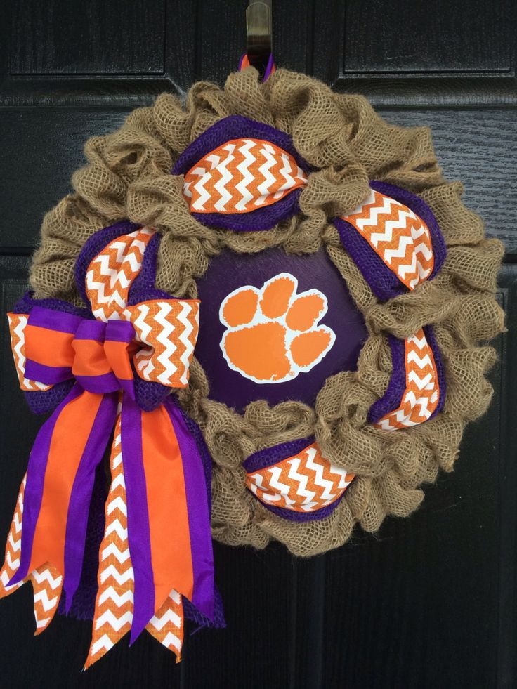 Clemson University Burlap Wreath 16 by CMACraftsandDesigns, $45.00
