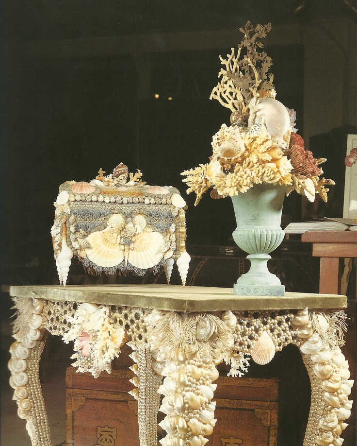 Love the shell filled urn!