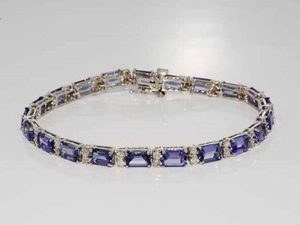 Catawiki Online-Auktionshaus: Damen Tansanit und Diamant Armband