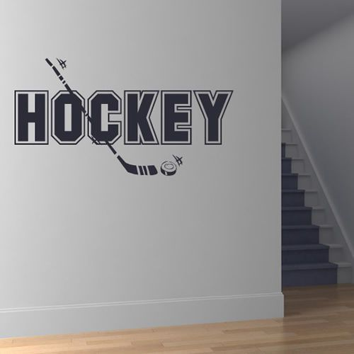 Eishockey Text Wandaufkleber Wandtattoo Sport Kunst