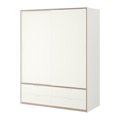 TRYSIL Schrank mit Schiebetüren/4 Schubl., weiß, hellgrau 154x205 cm weiß/hellgrau