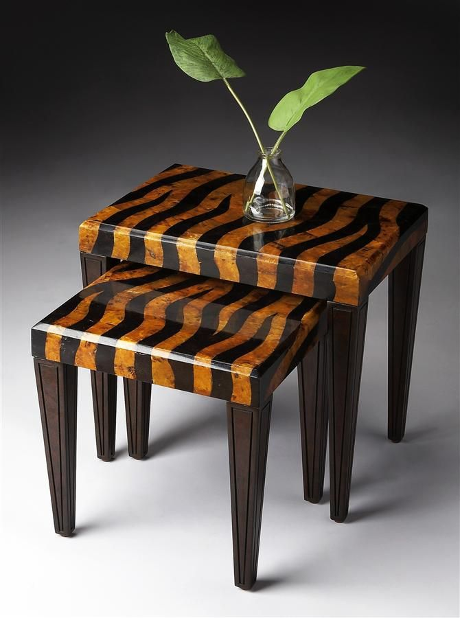 Tiger Striped Nesting Tables Brown Finish Crafted Solid Wood Brand New