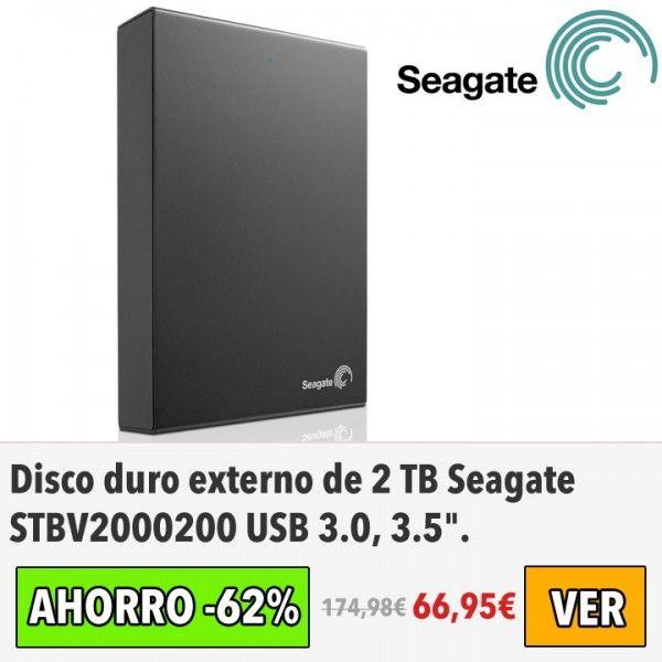 Disco duro externo de 2 TB Seagate STBV2000200. #ofertas #descuentos