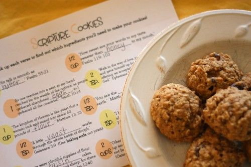 Scripture Cookies with free printable recipe:  Look up each passage of scripture to identify the ingredients!