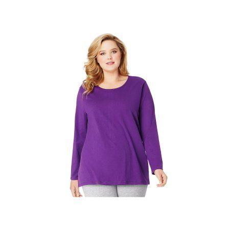 Just My Size Plus-Size Women's Long-Sleeve Scoopneck Tee, Purple