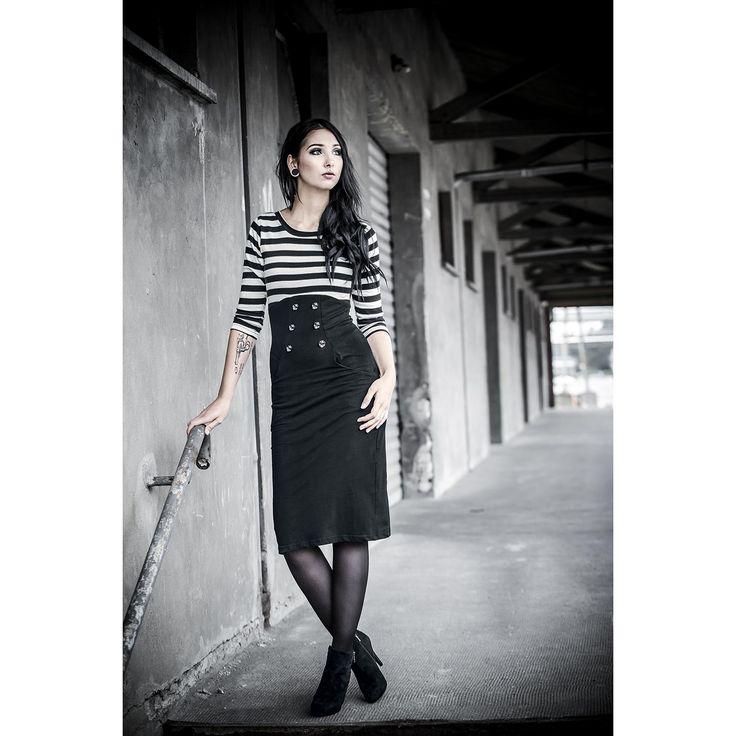 "Rockabella Lange jurk, Vrouw ""Star Board"" zwart-wit • Large"