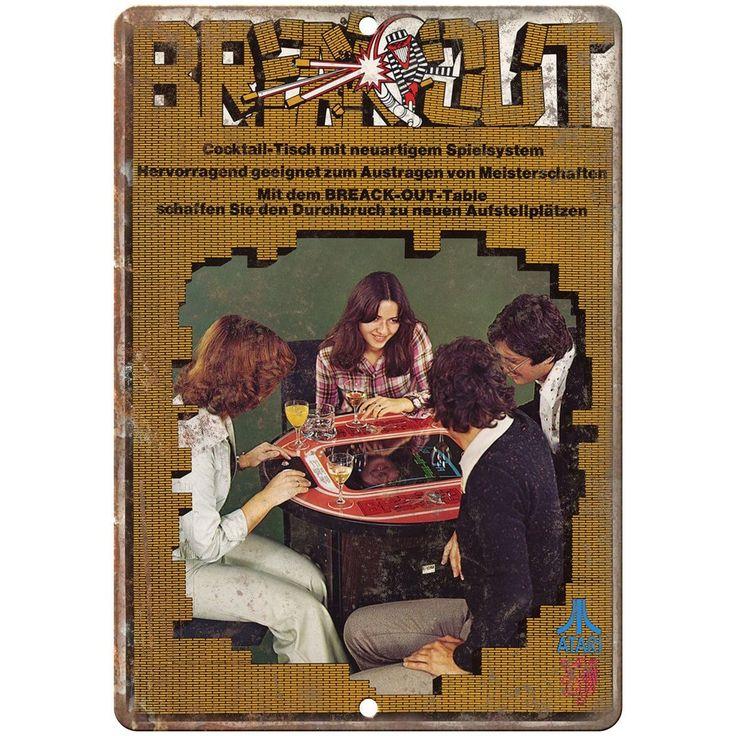 "10"" x 7"" metal sign - ATARI Breakout arcade game - Vintage Look Reproduction"