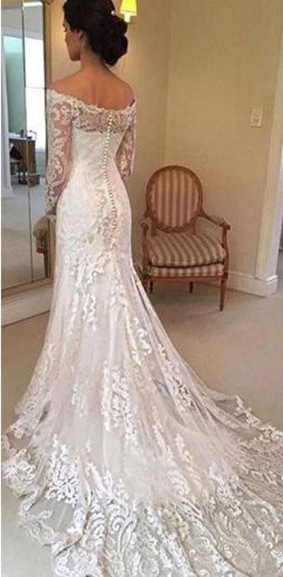 bef66ef261a Buy White Off Shoulder Lace Long Sleeves Wedding Dress Bridal Gown ...