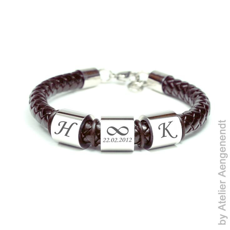 Armband mit Gravur Herrenarmband Damenarmband Elemente aus Edelstahl (BLA21-BR)