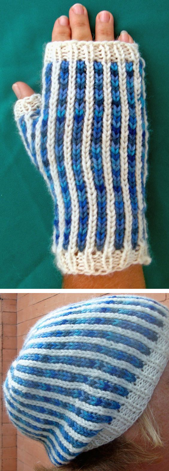 Free Knitting Pattern for Matching Bi-Color Mitts and Slouchy Hat - The vertical stripe colorwork in this set is knit with NO stranding or slipping any stitches. Mitts pattern has an option for full mittens. Hat can be knit flat or in the round. Great with multi-color yarn. Designed by Terry Morris
