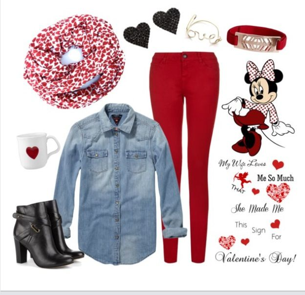 Casual Valentineu0026#39;s Day outfit #valentinesday #red #hearts ...