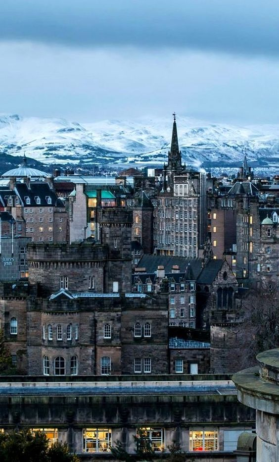 In wintry Edinburgh.