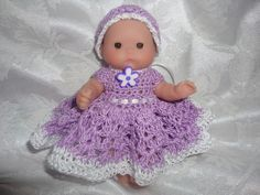Free+Doll+Dress+Crochet+Pattern+for+Berenguer+5+Inch+or+OOAK+Clay+Bitty+Baby