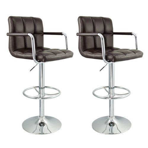 2 Swivel Bar Stool w Arm PU Leather Modern Adjustable Hydraulic Barstool Dark Brown