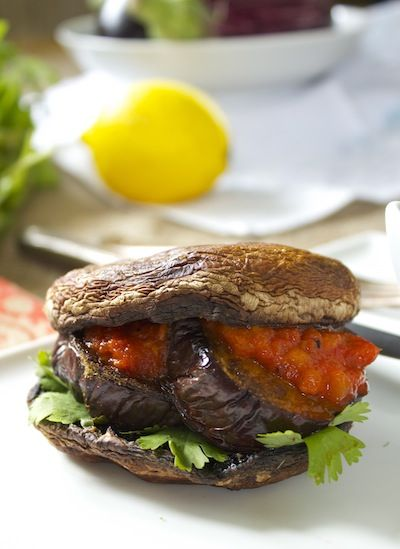 10 Awesome Burgers -  Portobello, cumin and spiced eggplant.