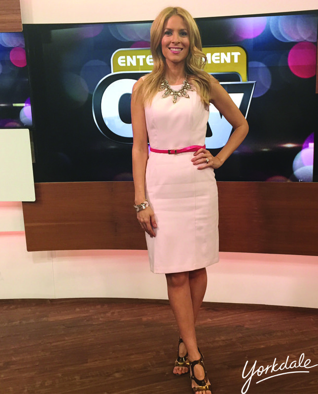 Wednesday, April 8th | Dina's outfit included: WHITE HOUSE BLACK MARKET Blush pink sheath dress $160 BITTERSWEET Pink gemstone statement necklace $68 HUDSON'S BAY Pink gem bracelet $25 Gold Earrings $15 Ivanka Trump Bronze Heels $195 (last season)
