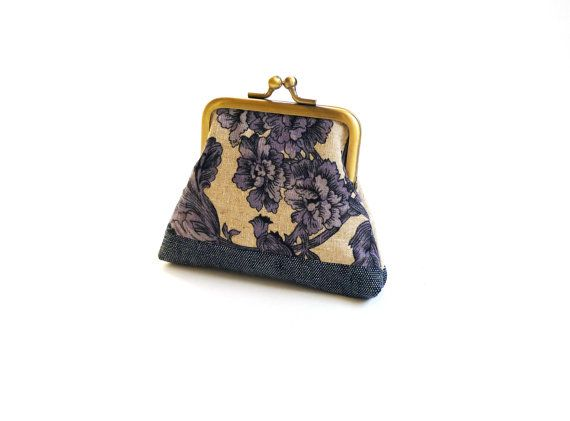 China blue purse inky purse blue floral coin purse by maplemist