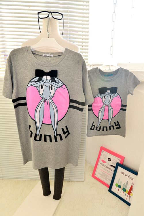 New Summer Family style mother and daughter short-sleeve T-shirt Bunnys family clothing 2-8Y kids family matching outfits