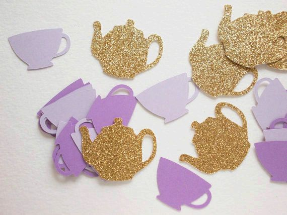 "Tea Party Decorations, Glitter Gold & Purple Teapots Teacup Confetti,  Alice in Wonderland, Birthday Tea Party, Table Confetti, 1.5"""
