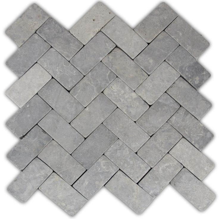 Light Grey Herringbone Stone Mosaic Tile - Pebble Tile Shop - fireplace hearth