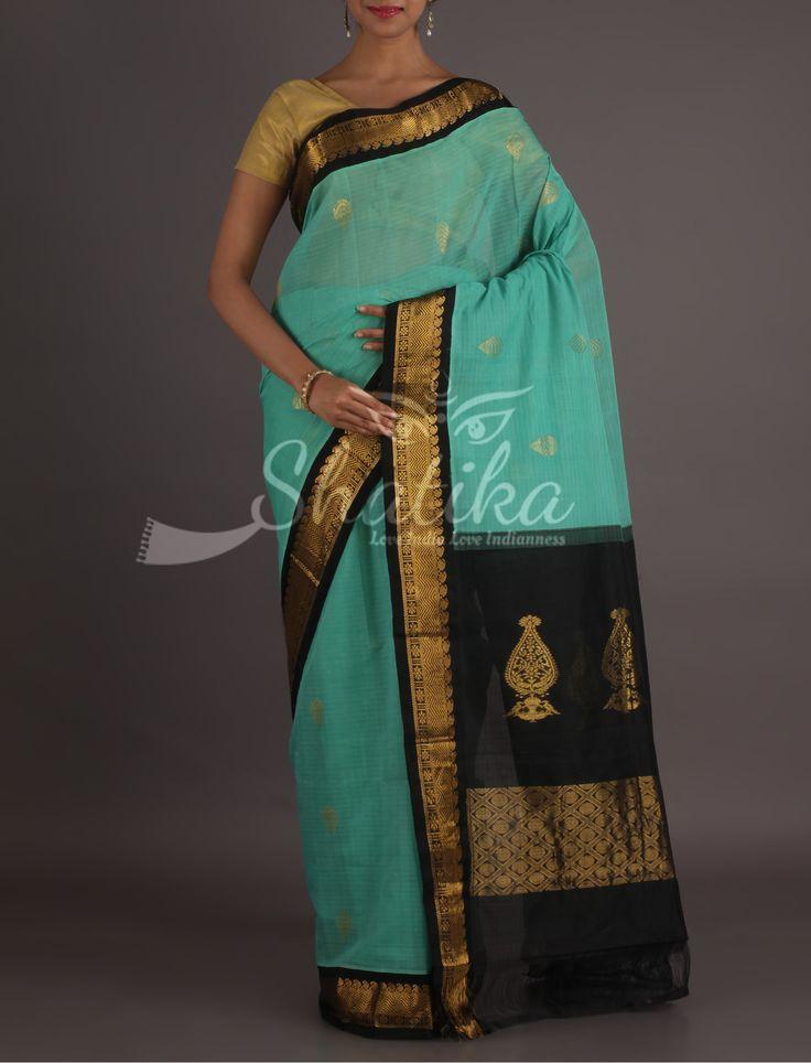 Vaishali Sky Blue And Black Dignified Gadwal Pure Cotton Saree