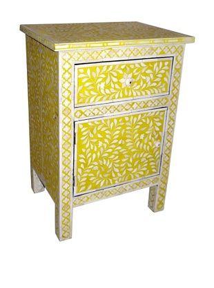 -61,800% OFF Mili Designs 1 Drawer 1 Door Geo Design Bone Inlay Bedside, Mustard/Cream