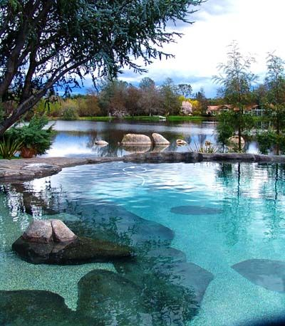 This amazing pool was designed to look like a part of the lake beyond, from the coloring to a naturally uneven bottom. More perfection from Natural Design Pools...