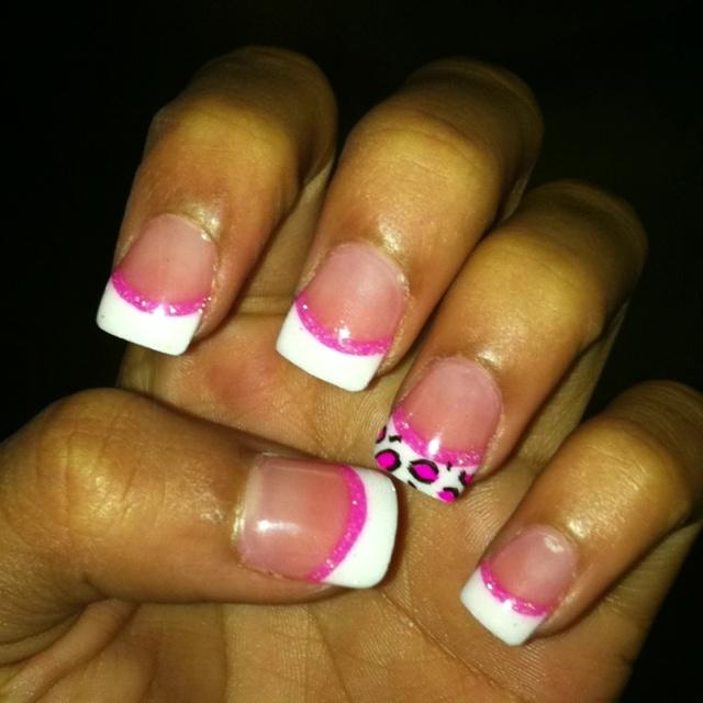 Pink and cheetah nails.