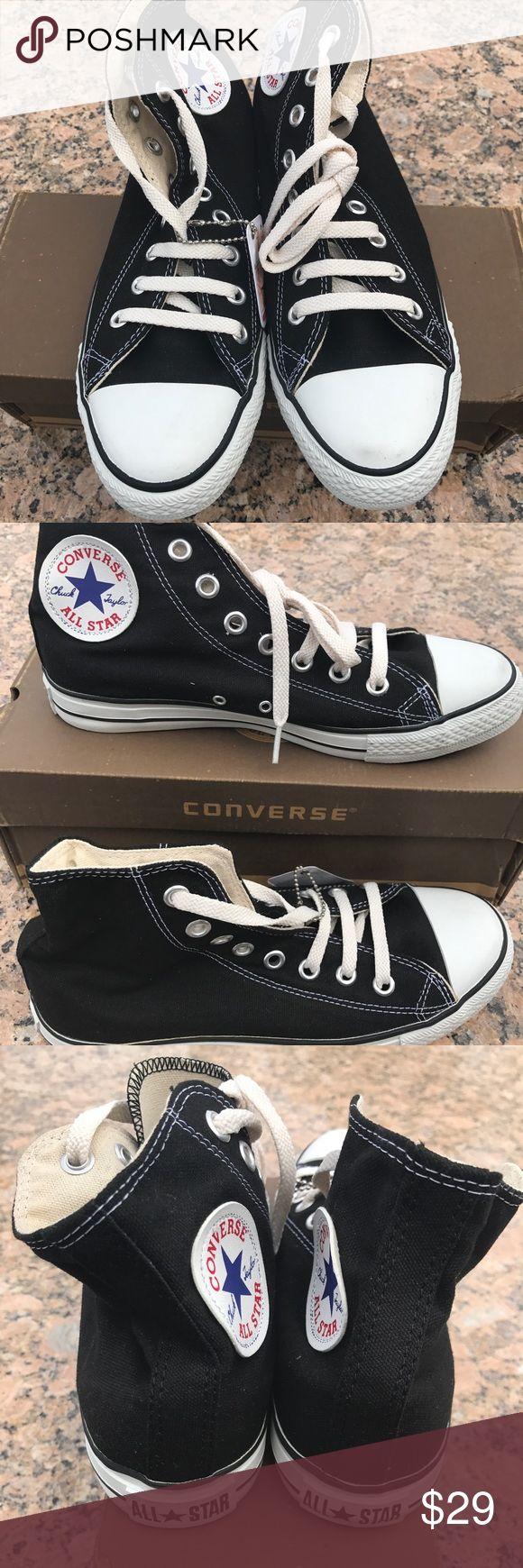 Converse All Star Canvas Hi Top Black Shoes, Converse All Star Canvas Hi Top Black Chuck Taylor Shoes, Women's US 8.5 Converse Shoes
