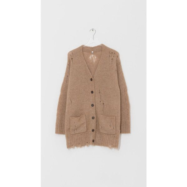 Ripped Camel Cardigan ($675) ❤ liked on Polyvore featuring tops, cardigans, oversized cardigans, short-sleeve cardigan, camel top, button up top and cardigan top