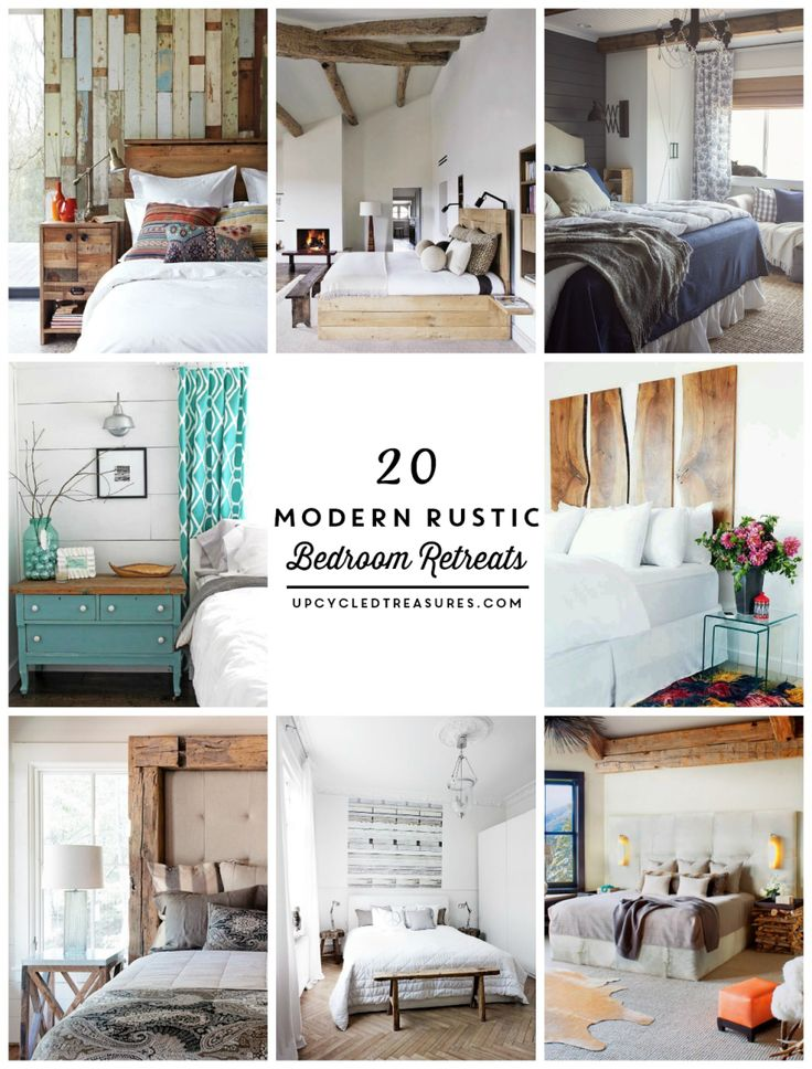 Need some bedroom design ideas? Check out these 20 inspiring Modern Rustic Bedroom Retreats! upcycledtreasures.com