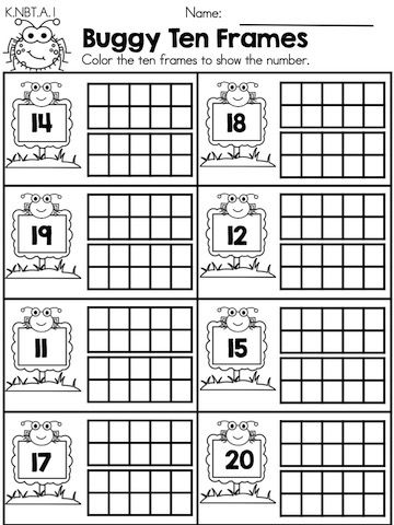 Buggy Ten Frames >> Part of the Spring Kindergarten Maths Worksheets packet