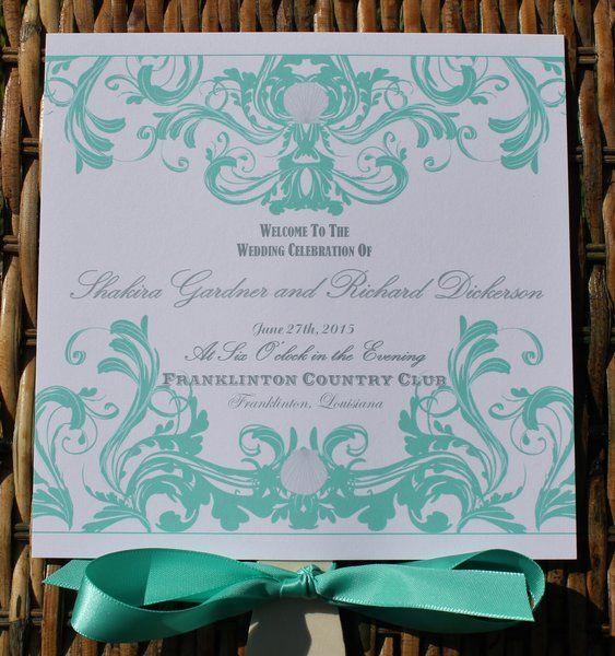 Island Beach Wedding Fan Program