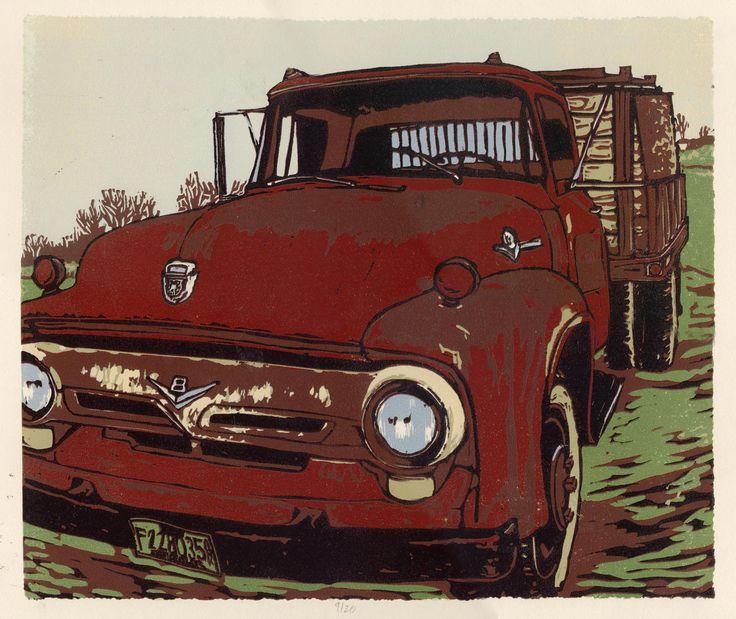 """""""Leeser's Truck"""" linocut by AnnieLaurie. http://www.etsy.com/uk/people/annielauries?ref=owner_profile_leftnav Tags: Linocut, Cut, Print, Linoleum, Lino, Carving, Block, Woodcut, Helen Elstone, Vehicle, Van, Truck, American, Rust."""
