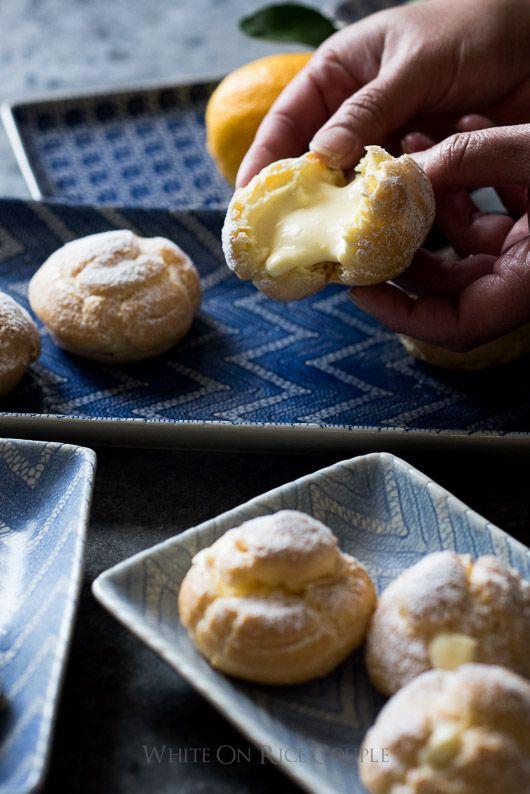 Cream Puffs filled with Meyer Lemon Curd Whipped Cream whiteonricecouple.com @whiteonrice