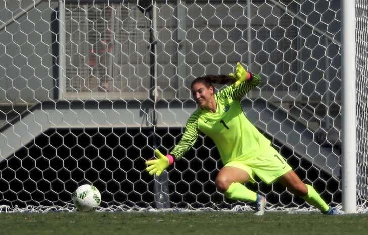 Stina Blackstenius of Sweden (not pictured) scores a goal past U.S. goalie Hope…