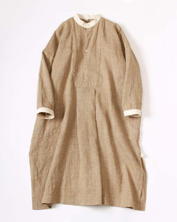 リネン・ギマミックスツイードDRESS 71,280円(税込) ヴィンテージの ワーキングシャツをお手本にしたツイードです。 リネンと擬麻コットンで織りました。