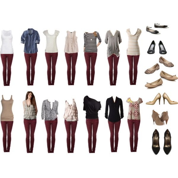 Burgundy Jeans - Outfit Ideas by connie-nicole on Polyvore featuring Old Navy, LOFT, Anthropologie, American Eagle Outfitters, J.Crew, Forever 21, Current/Elliott, Lanvin, A|Wear and Mossimo Supply Co.
