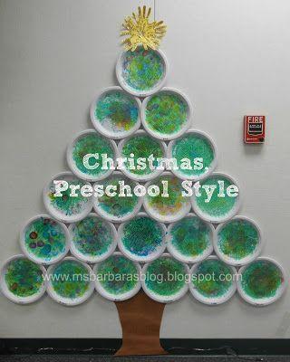Julgran, adventskalender. Barnen gör var sin tallrik, målar grön med nummer, paljetter mm på. På baksidan finns en bild på en sång som barnet valt.