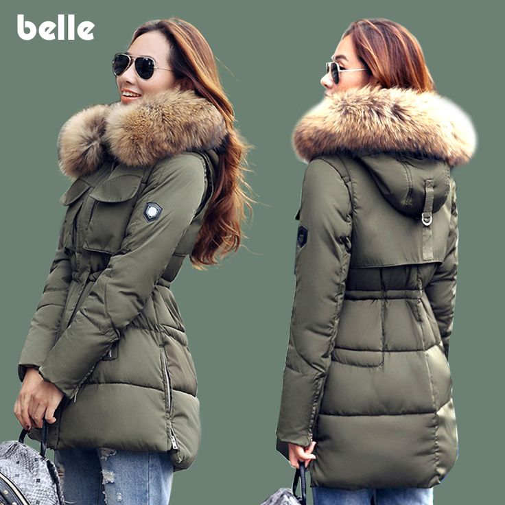 Clearance Sale Winter Jacket Women Large Thick Real Raccoon Fur Collar Hooded Jackets Coat For Women Outwear Parka