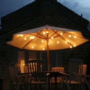 string lights under an umbrella.